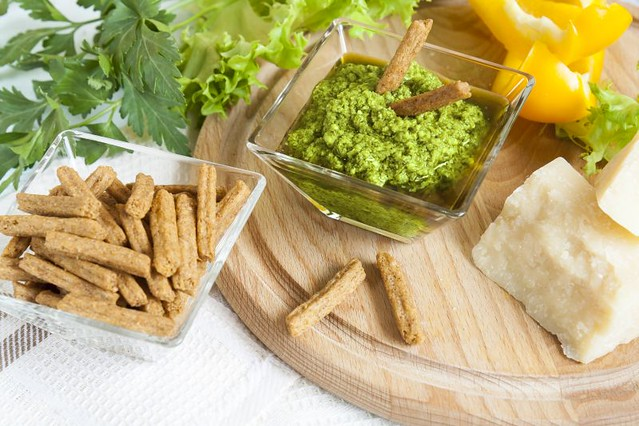 Basil pesto with bread rusks parmigiano cheese